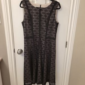 Anne Klein black lace fit and flare dress Sz 12
